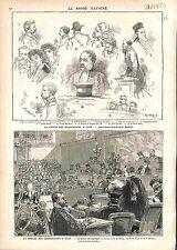 Procès des 66 Anarchistes de Lyon Jugement FRANCE ANTIQUE PRINT GRAVURE 1883