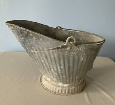 Vintage Galvanized Ash Coal Scuttle Bucket Pail Fireplace Metal Hearth