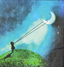 3 x Single Paper Napkins For Decoupage Craft Girl Holding The Moon At Night M889