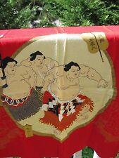 JAPANESE DESIGN SILK SCARF  ASIAN SUMO WRESTLERS RED