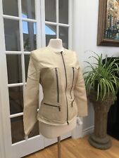 Beautiful Stylish Prague Women's Leather Jacket Soft Lamb Cream Size M, New
