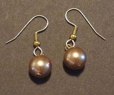 Bronze Swarovski Crystal Pearl Earrings Dangling on Gold Wires