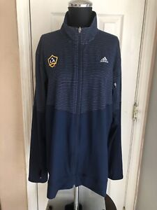 Adidas LA Galaxy MLS Blue Striped Zip Up Jacket With Thumb Hole Women's XXL