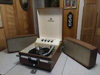 1950s Motorola Suitcase 4 Speed Record Player, Turntable.