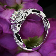 1 CT ROUND DIAMOND ENGAGEMENT RING VS2 D 14k WHITE GOLD