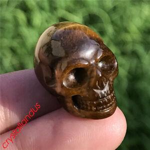 1pc Natural mini tiger eye skull Quartz Crystal hand carved reiki healing 1''