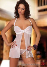 Beauty Night Olivia Babydoll,Matching thong included  White, L/XL