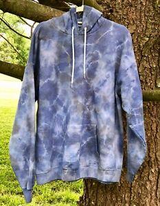 Sweatshirt Hoodie Tie Dye Pullover Hand Dye Front Pocket Unisex Blue Gray XL NEW