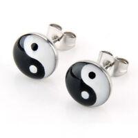 PAIRE Boucles d'oreilles a Broche rond symbole Yin et yang 10mm V4P4