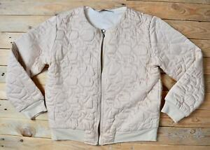 Ex Catalog Short Brown Gold Quilted Embroidered Jacket Coat Size 10  (Eu 38 )