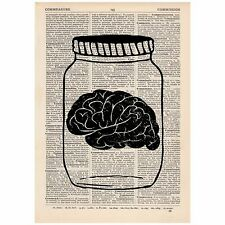 Brain In A Jar Dictionary Print Vintage, Anatomy, Satirical, Art, Unique, Gift,
