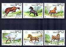 Chevaux Laos (30) série complète de 6 timbres oblitérés