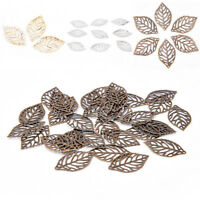 50PCS/Set Hollow Leaves Filigree Metal Crafts Jewelry DIY Accessories Pendant JT