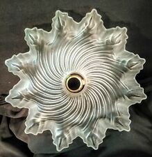 """Vintage French Frosted Glass Ceiling Shade Ruffled Edges, Fluted Pattern 10 3/8"""""""