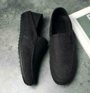 Fashion Mens Breathable Slip On Driving Moccasins Loafers Hemp Gommino Shoes