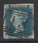 GB 1840 2d Blue Plate 1 GA With 1844 Type Cancel of Ambleside    / bre
