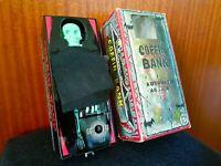 VINTAGE YONE JAPAN - 1960s TIN COFFIN COIN BANK - Wind-Up Toy Original Box RARE!