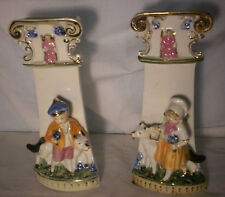 vintage Pair of German Porcelain vases Boy/ girl  with Dog in front of pillar