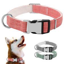 Luxury Dog Collar Adjustable Small Large Collars Pet Puppy Nylon Necklace Gray