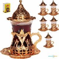 (SET OF 6) Handmade Turkish Tea Water Zamzam Serving Set Glasses Saucer