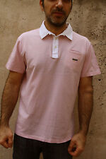 Navigare Mens Short Sleeved Polo Top Cotton Auth Pink XXL