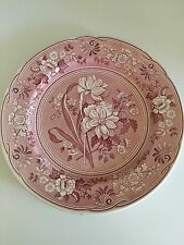 """SPODE Red-Pink 'Botanical' 12 3/4"""" Charger Serving Chop Plate Made In England"""