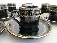 Antique DEMITASSE 8 Sets G & S LTD ENGLAND ITALIAN BORDER RN208180 CUP & SAUCER