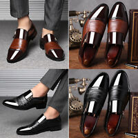 Mens Oxfords Leather Shoes Casual Pointed Toe Wedding Formal Dress Business Shoe