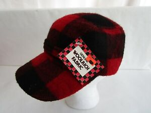 Vintage Woolrich Trappers Cap / Hat - Red/ Black Plaid -Size Small -Made in USA