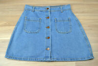 VALLEY GIRL Blue Denim Button Up A-Line Mini Skirt Front Pockets - Size 10