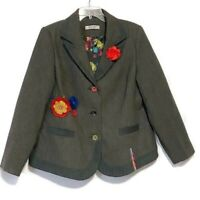 Joe Browns Blazer Size 18 Tweed Art To Wear Jacket Quirky Applique Lined