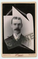 Cabinet Photo-Memorial Type W/Scroll Young Man-Marquette, Michigan,Werner Studio