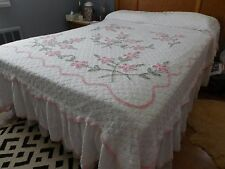 Vintage chenille bedspread white with pink floral design and ruffle