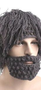 New Mens Mad Caveman Winter Wool Knit Warm Hat Beanies Boy Funny Wig Beard Hats