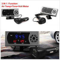 3 in 1 Car Truck 12/24V LCD Display Screen Clock+Air Temperature+Voltmeter Gauge