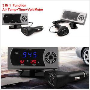 3 in 1 Car Truck 12/24V LCD Display Screen Clock+Air Temperature+Voltmeter Gauge