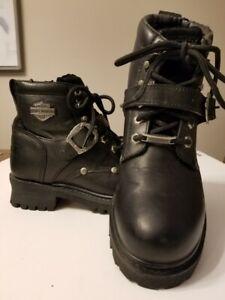 Harley Davidson Womens Boots SIZE 7.5 Black Leather Combat Motorcycle Biker81024