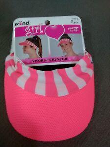 SCUNCI girl change it up Visor - One Size  visor and scrunchie 2pcs hot pink