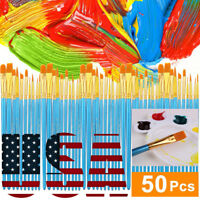 "50 PCS 6.5-7.5"" Nylon Acrylic Paint Brush Artist Oil Painting Watercolor Pen US"