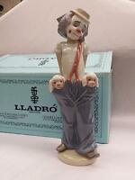 "Lladro #7600 ""Little Pals"" Clown w/ Dogs Handmade Figurines 1985, Rare NEW, NEW"