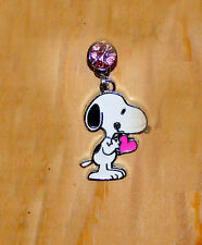 snoopy phone charm pink heart -dust plug  cell phone