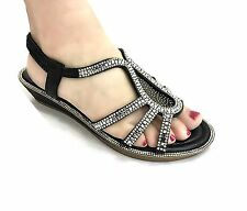 GIRLS and young ladies   CUSHION SOLE DIAMANTE  TOE POST SUMMER WEDGES SANDAL