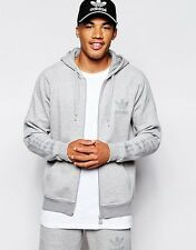 adidas Originals Mens Trefoil Hoodie Full Zip Hoody Jumper Sweater Top L Grey