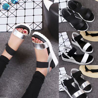 Womens Open Toe Ankle Strap Flat Heel Beach Sandals Summer Platform Wedges Shoes