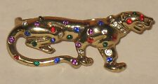 Rhinestone PANTHER Leopard Double Finger RING Retro Vtg Style Gold Tone CAT