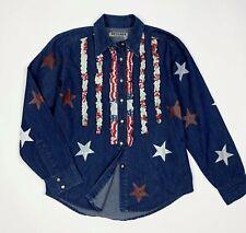 Beckaro camicia donna usato custom stars shirts L usa camicetta vintage T432