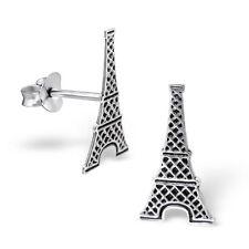 Plata esterlina 925 Torre Eiffel, París Francia Landmark Aretes & Caja De Regalo