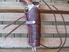 "Gun Holster - 6"" Barrel - Right Handed -22 Caliber- Wine Color- Tooled - Leather"
