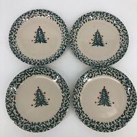 SET OF 4 - Dinner Plates Folk Craft By Tienshan Winter Wonderland Dinnerware