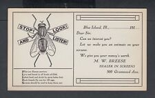 USA circa 1910 1c McKINLEY HOUSE FLY ADVERTISEMENT PS CARD BLUE IS LAND ILLINOIS